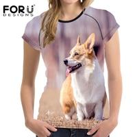 FORUDESIGNS Summer Comfort Short Sleeve T Shirt For Women Ladies 3D Lovely Corgi Printing Casual Spandex