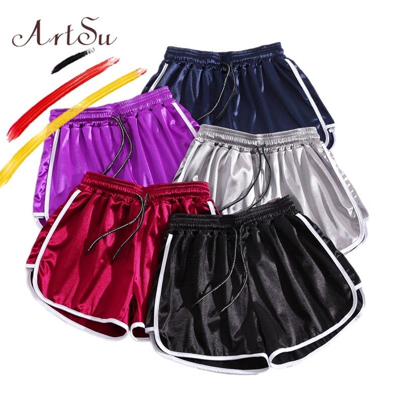 ArtSu S-5XL Plus Size Women Short Workout Red Black Purple Gray Blue Silk Satin Sexy Beach Wear Hot Casual Summer Shorts 2019