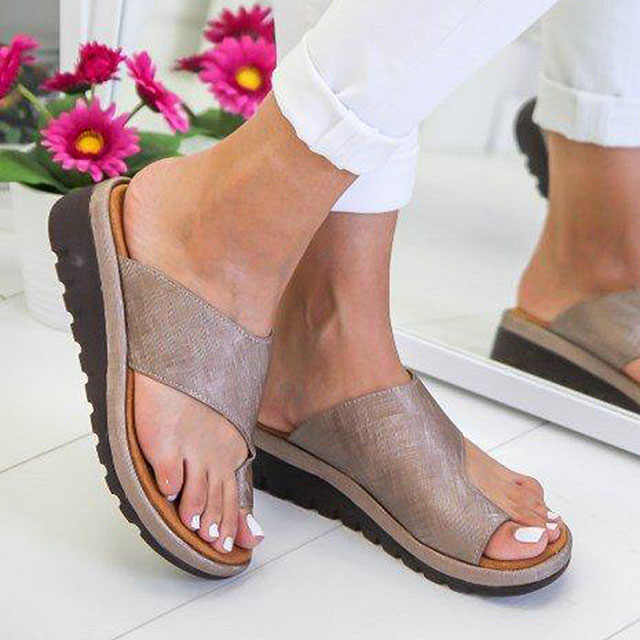 Women Sandals Factory Direct Summer Shoes Woman Soft Big Toe Foot Correction Sandalias Mujer Wedges Shoes Female Heels Flip Flop