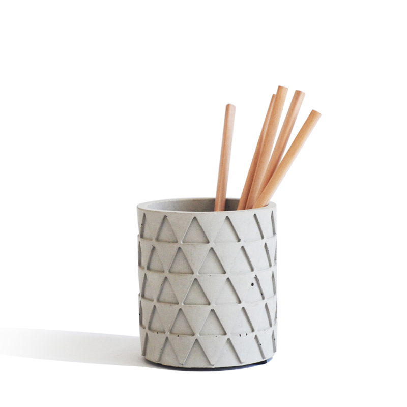 Конкретные круговой цемента цветочный горшок Треугольные текстура ручка в северных европейских украшения дома силиконовые формы