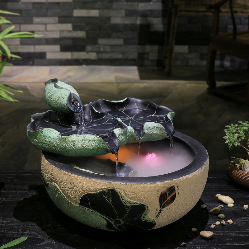 creative fengshui round lucky water fountain room decoration office desktop small aquarium water landing humidifier - Tabletop Fountains