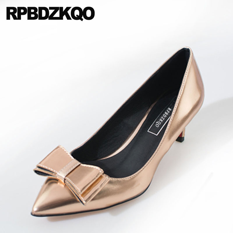 Big Size Gun Color Pointed Toe Pumps Patent Leather Bride Metallic Medium Heels Gold Bridal Shoes Women Bow 33 Silver Kitten цена
