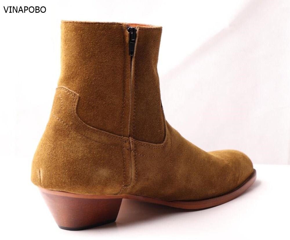 Vinapobo Em Peixe Botas Boots Sapatas The Brown Ankle Escama De Preto as Relevo Apontou As Genuíno Pircture Pircture Dos outono Zíper Primavera Homens Toe Couro Com Branco rwq70rY