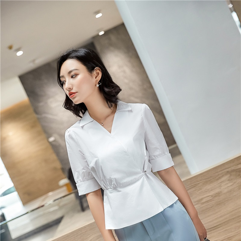 Novelty White OL Styles Women Blouses & Shirts Female Summer Work Wear Blouse Ladies Clothes Tops Plus Size