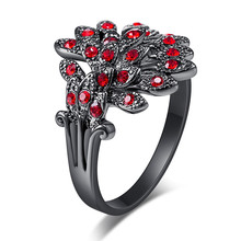 1 Piece Elegant Green/Black/Red Crystal Black Gold Ring Unique Design Vintage Wedding Rhinestone Peacock Feather Rings For Women