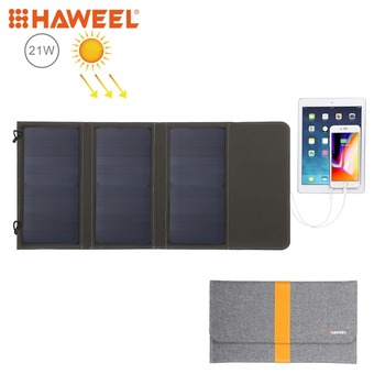 HAWEEL 21W Foldable Solar Panel Charger with 5V 2.9A Max Dual USB Ports  Portable Travel Solar Powered Panel