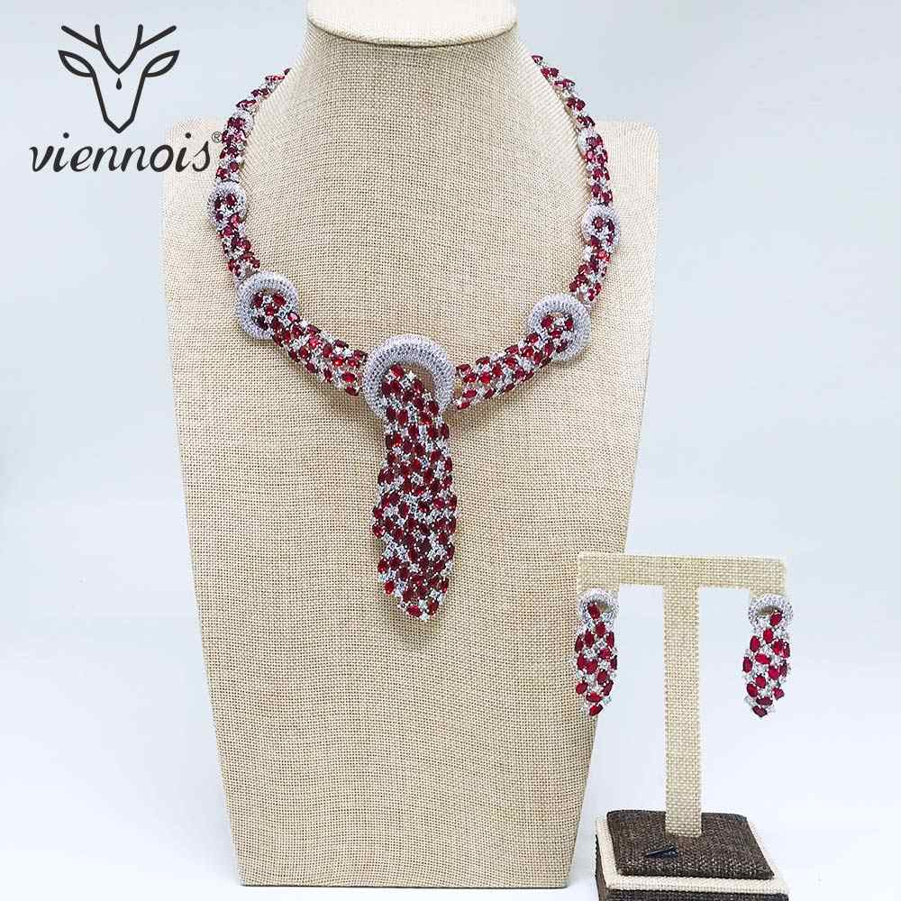 Viennois Silver color Blue Crystal Jewelry Sets for Woman Cyrstal Paved Necklaces Earrings Set Rhinestone Jewelry