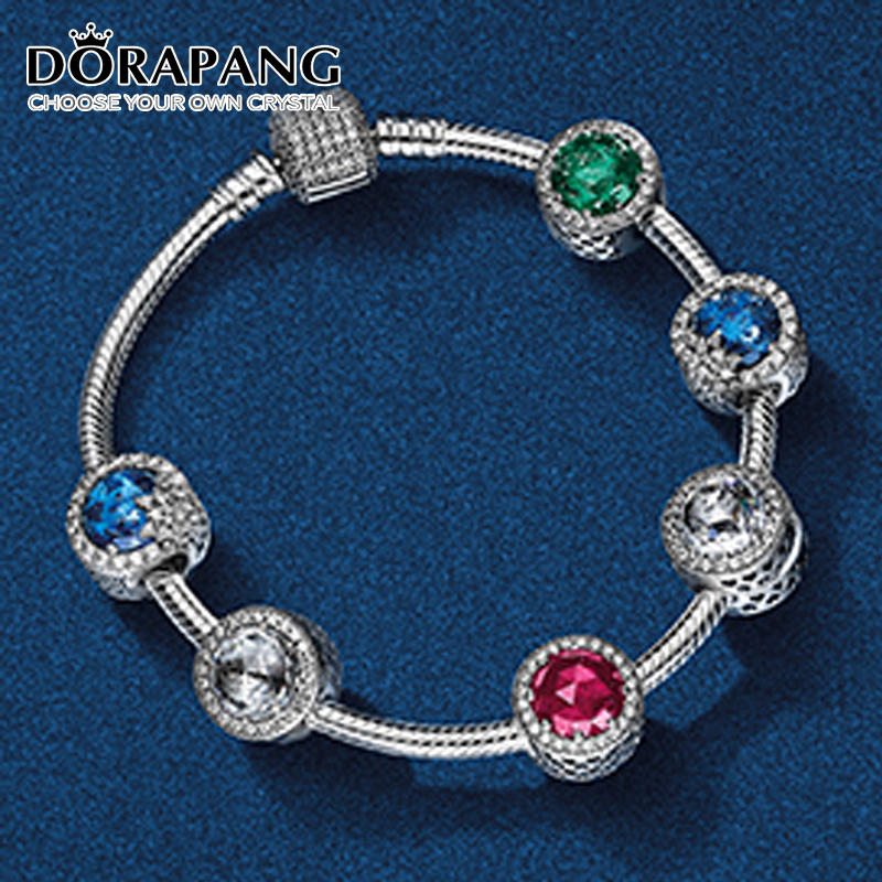 DORAPANG 100% 925 Sterling Silver Bracelet Clear CZ The Charm Of Safety Clips Bead Fit Pendant DIY Bracelets Set wholesale dorapang 100% 925 sterling silver rose gold love bracelet clear cz charm bead fit pendant diy bracelets the factory wholesale