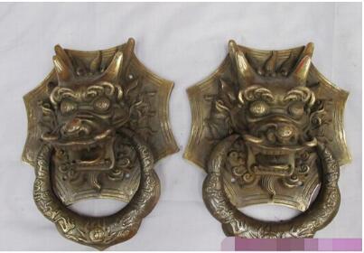 Statue traditionnelle chinoise en cuivre Bronze tête de Dragon