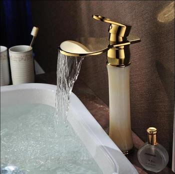 Free Shipping Waterfall Faucet Gold Brass & Jade Basin Faucet Hot And Cold Basin Mixer Tall Bathroom Sink Faucet Mixer Tap