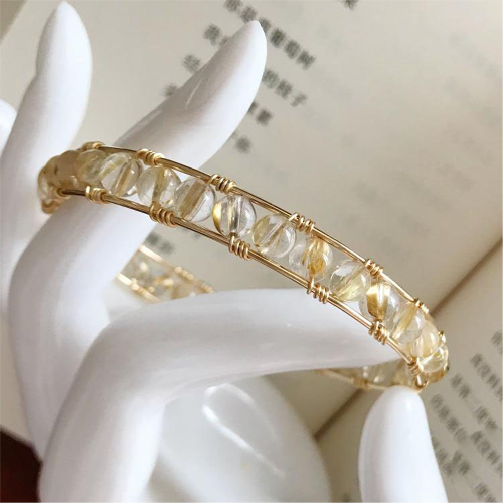 Natural Blonde Crystal Handmade Bracelets 14 Gold Wrap Filled Customize Bangles Unique Gift Vintage Jewelry Bracelet for Women