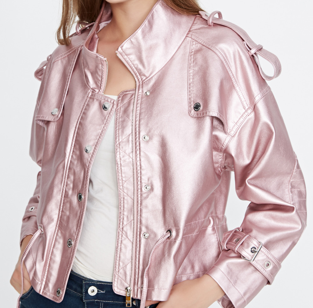 2018 New Arrival Spring Autumn Women Casual PU Faux   Leather   Jackets Lady Fashion Free Loose Batwing Sleeve Coat Outerwear Pink