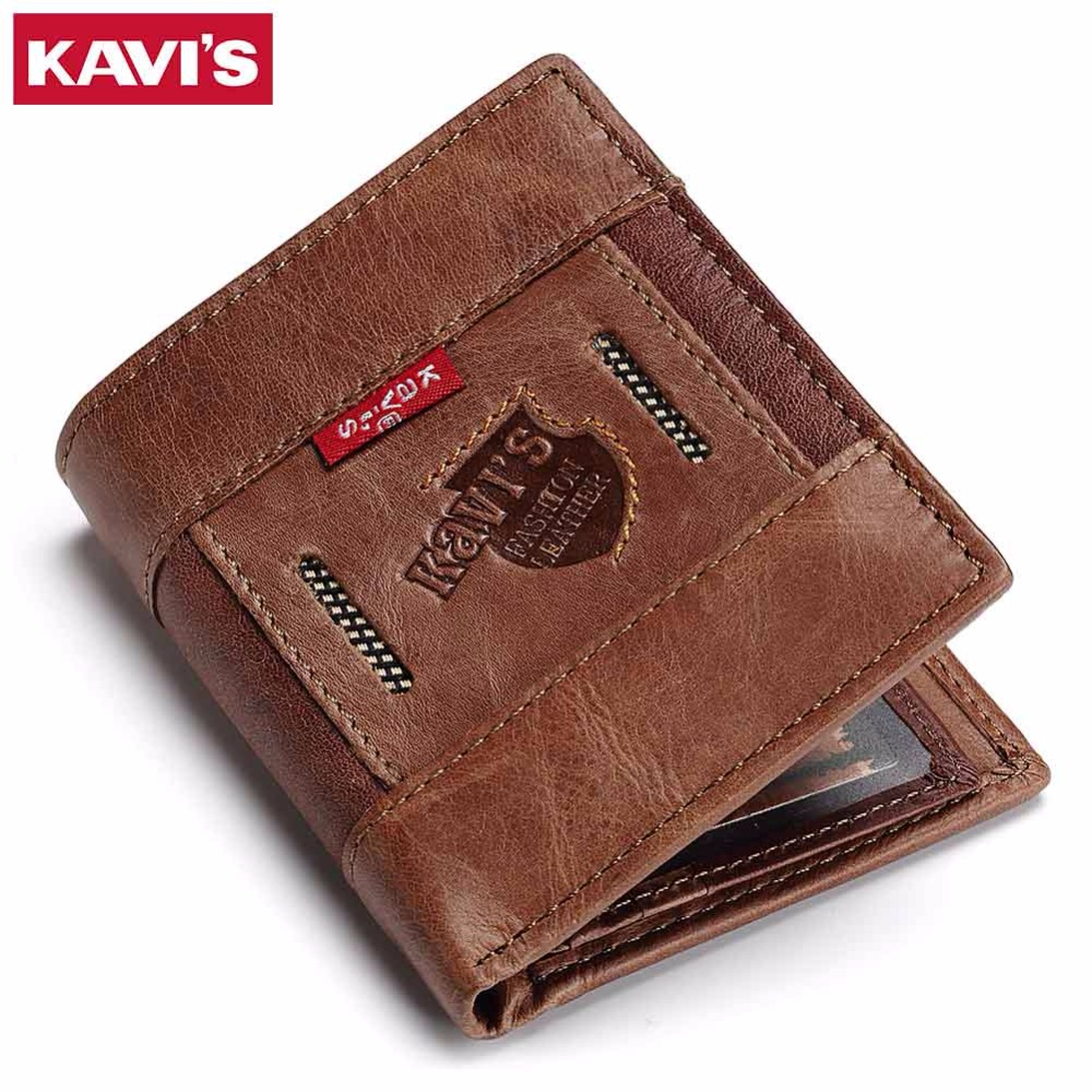 KAVIS Slim Genuine Leather Wallet Men Coin Purse PORTFOLIO Male Cuzdan Portomonee Small Money Bag Magic Walet Perse Card Holder document for passport badge credit business card holder fashion men wallet male purse coin perse walet cuzdan vallet money bag
