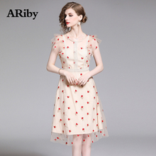 ARiby Women O Collar Dress Sweet Mesh Summer 2019 New Fashion Embroidery Empire Knee-Length A-Line Vestidos