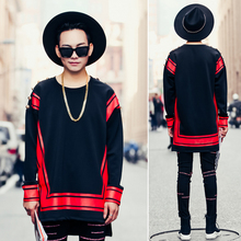 New Men's Clothing The trend of printing the stitching loose Hoodie winter with cashmere coat hip-hop couples dress costumes