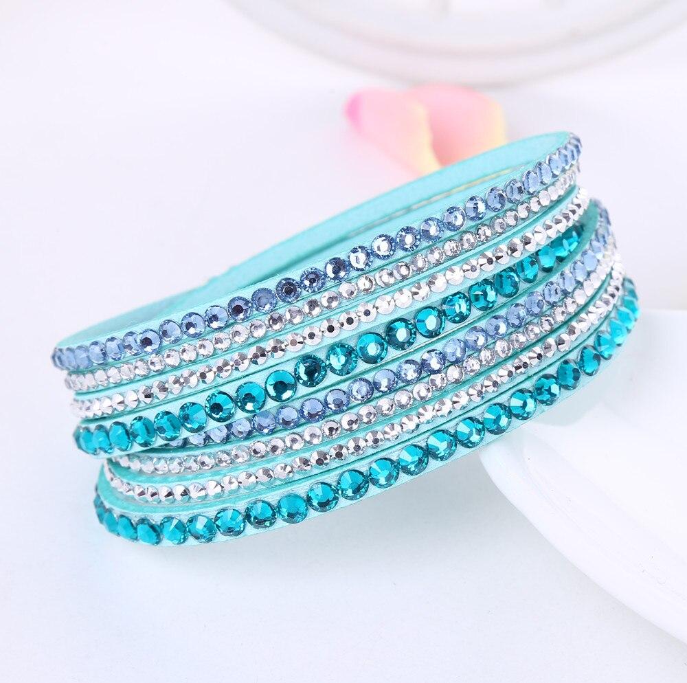 2016 New Leather Bracelet Rhinestone Crystal Bracelet Wrap Multilayer Bracelets for women feminino pulseras mulher Jewelry 2