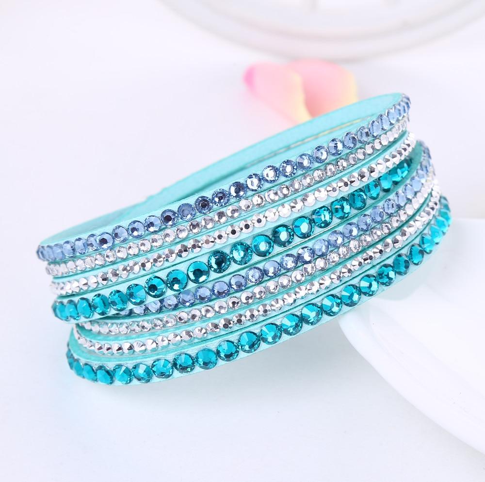2016 New Leather Bracelet Rhinestone Crystal Bracelet Wrap Multilayer Bracelets for women feminino pulseras mulher Jewelry