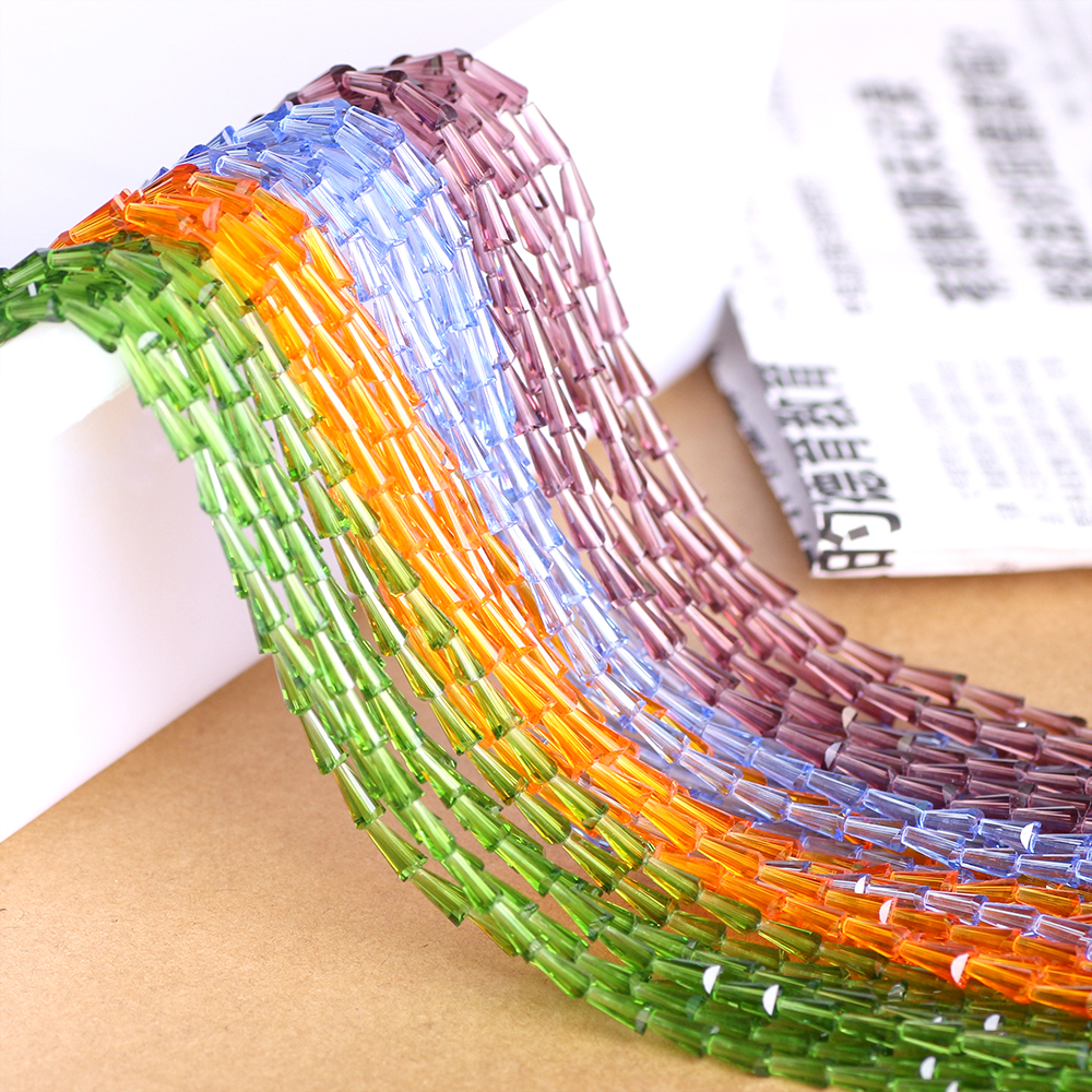 ZHUBI 95pcs/lot Crystal Bead For Needlework 3*6MM Glass Tube Spacer Beads European Design Tower Quartz Lampwork Beads Wholesale