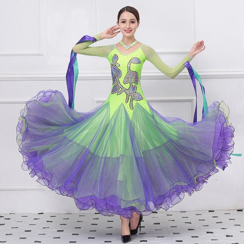3e537823938ba96 Фиолетовый Стразы бального танца Конкурс платье Стандартный платье  современный танец костюм бальный Вальс платье Светящиеся костюмы