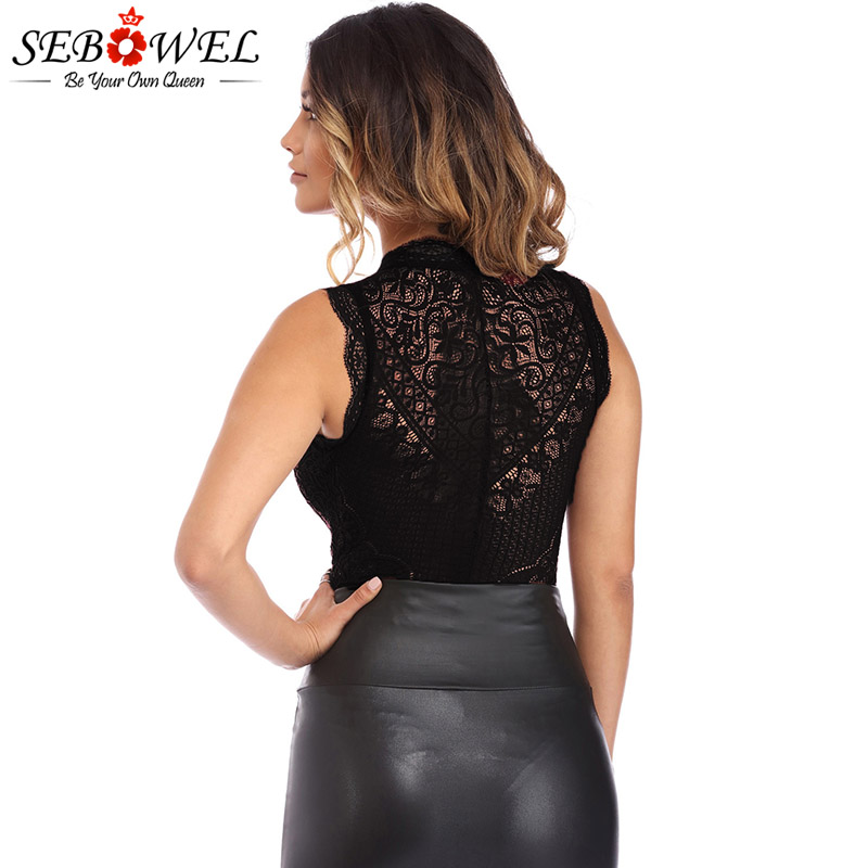 Black-V-Neck-Hollow-out-Lace-Bodysuit-LC32247-2-2