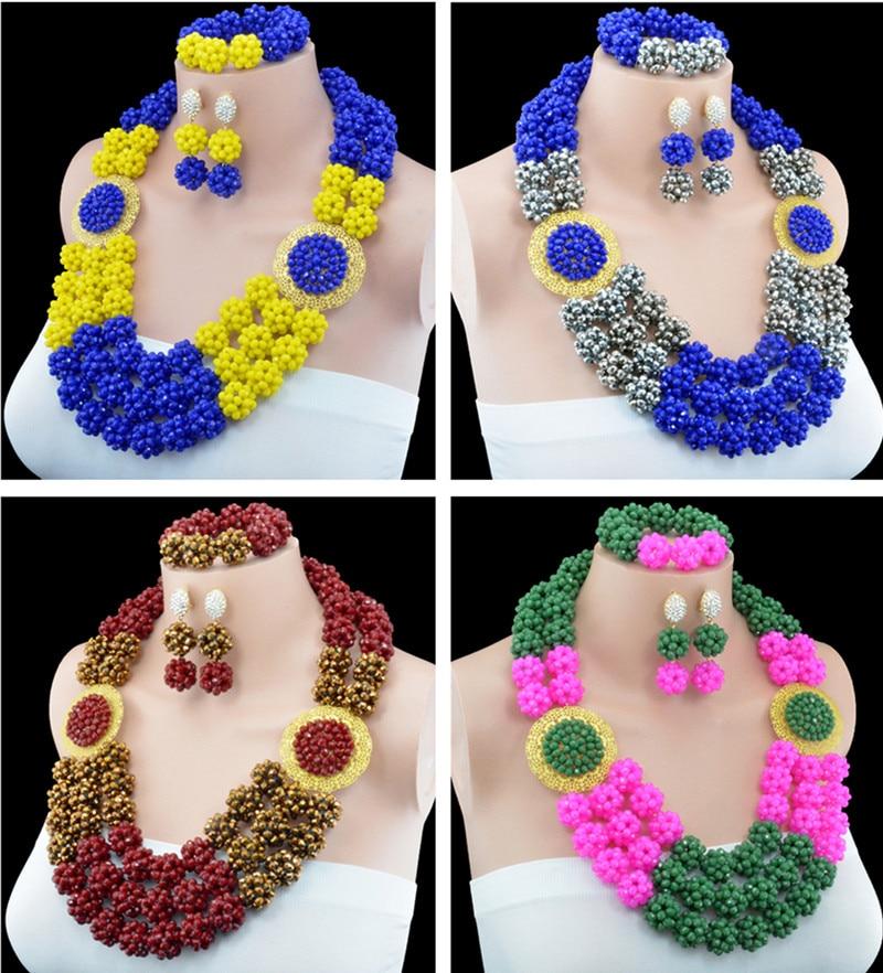 2016 New Arrival Fashion Skeleton Crystal Ball Costume Jewellery Nigerian Wedding African Beads Jewelry Set 10053