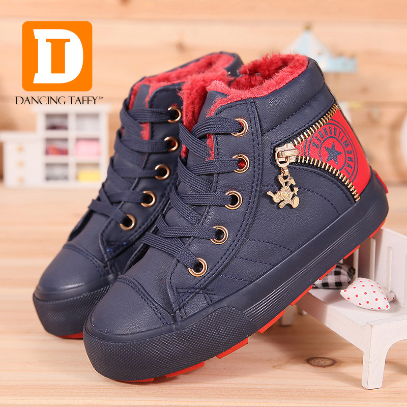 Winter Boys Boots Plush Kids Shoes PU Leather Children Snow Boots Girls Ankle Flat Zip Lace Up 2017 New Casual Rubber Sneakers kids shoes girls boys pu leather lace up high children sneakers girl baby shoes sport autumn winter children shoes
