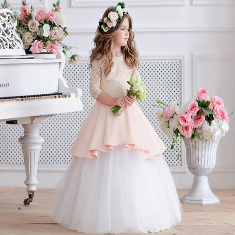 Half Sleeve Peach Flower Girl Dress Ivory Dress Tulle Toddler Lace Dress Girl Formal Dress half dress roobins half dress