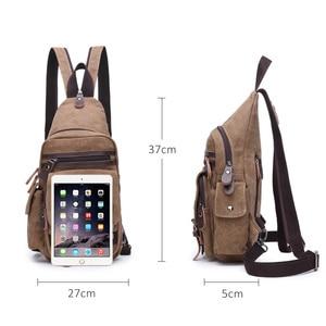 Image 4 - Canvas Chest Bag Pack Vintage Men Backpack Shoulder Bags Female/Male Travel Backpack Multifunction Small Bags Mens Back Pack Bag