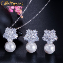 CWWZircons Top Quality Silver Color AAA+ Cubic Zirconia Flower Women Big Pearl Necklace Pendant and Earrings Jewelry Sets T049(China)