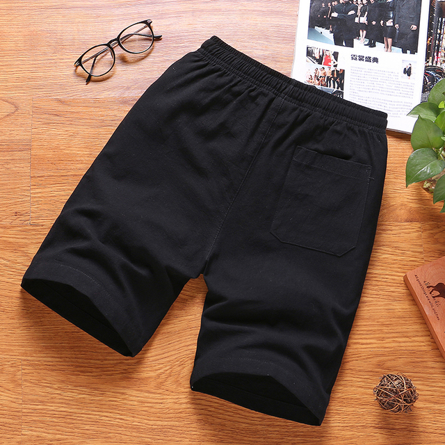 Mens Summer Cotton Solid Casual Shorts Elastic Waist Top Quality 3