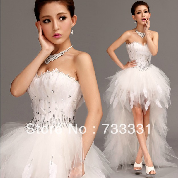fcd1badecc8 Diaphanous Crystal Beaded Sweetheart Empire Corset Short Front Wedding  Dress Peacock Feather Wedding Gown