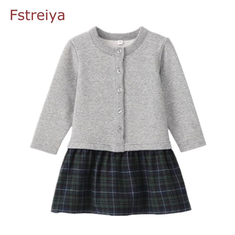Girl Princess Dress Long Sleeve Brand Spring Autumn Baby Girls belle Dress Kids False two pieces Dresses Girls Clothes winter 2016 new fashion spring autumn girls false two dress children stripe princess dress korean leisure kids clothes dc095