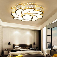 New Luxury Atmosphere Crystal Living Room Lamp Round Led Bedroom Lamp Iron Art Acrylic Study Hall