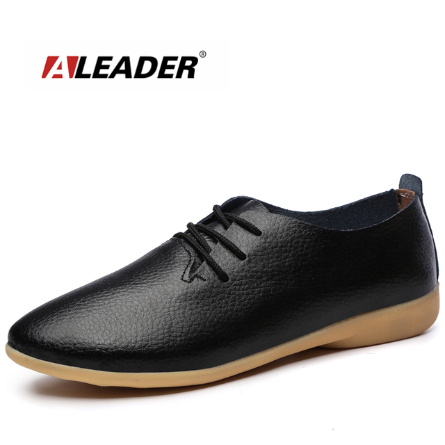 c883ee6ca9 Aleader Fashion Womens Shoes Comfortable Casual Oxford Woman Genuine Leather  Platform Shoes Black Lace Up Women Flats zapatillas