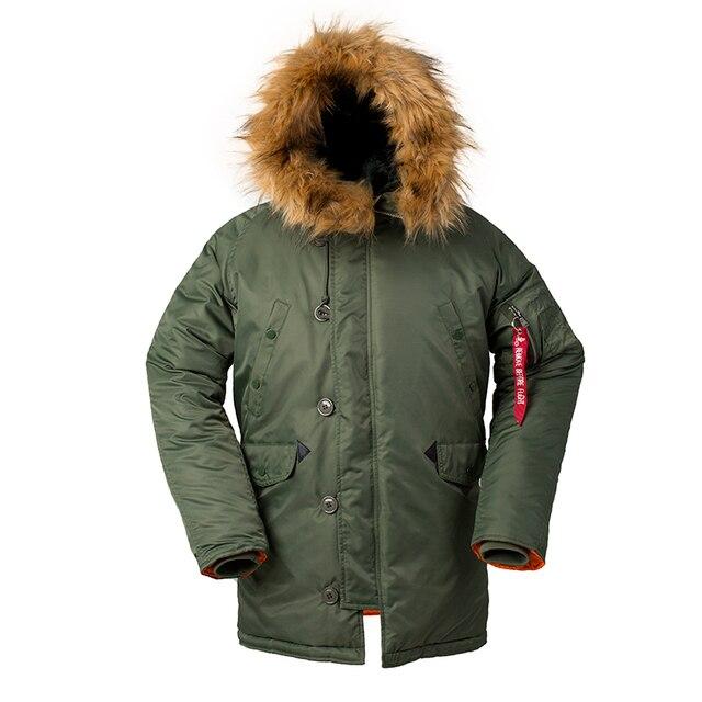 2020 Winter N3B puffer men long Куртка аляска coat military fur hood warm tactical bomber army korean thick parka 3