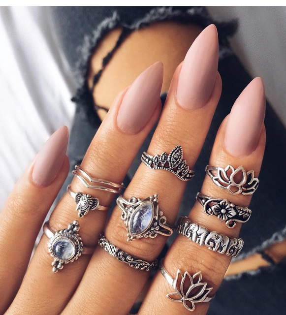 WLP lotus flower elephant Midi Rings Set Vintage Antique Silver arrow Peace Sign