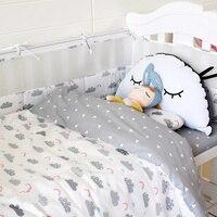 Infant Nursery Cot Bedding Set Baby Cot Bedding Bumper Organizer Crib Bumpers 4 Pieces Bumpers Pillowcase Qulit Cover Crib Sheet