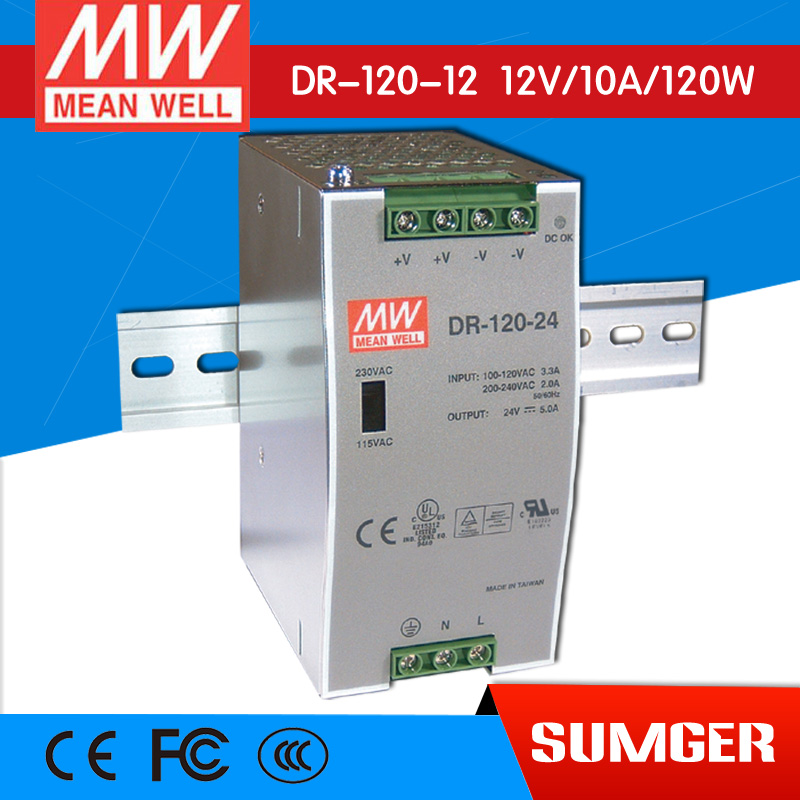 ФОТО [Freeshiping 1Pcs] MEAN WELL original DR-120-12 12V 10A meanwell DR-120 12V 120W Single Output Industrial DIN Rail Power Supply