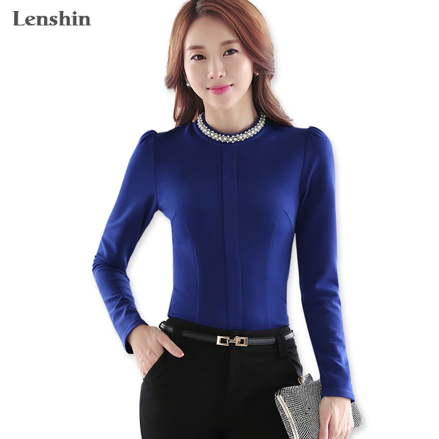 d7794bddfbe120 Elastic Fabric Navy Blue Thick Women Blouse Shirt Female Casual Style Fake  Pearl O-Neck
