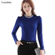 Elastic Fabric Navy Blue Thick Women Blouse Shirt
