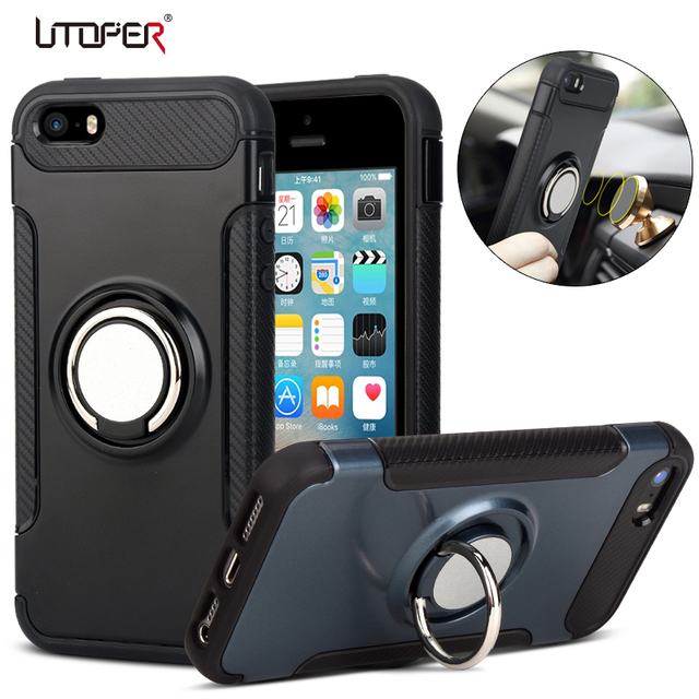 promo code b7d78 87220 US $3.02 25% OFF|Luxury Ring Case For iPhone SE Case Cover For iPhone 5s  Case Hard Plastic Magnetic Armor Kickstand Cover For iPhone 5 Case Coque-in  ...
