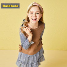 Balabala Children Girls Dress Clothing Summer School Style Fashion Girl Dress Children Kids Berry Dress Cotton Kids Vest dress(China)