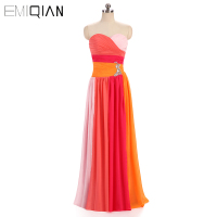 Brazilian Popular Colorful Women Gown Sleeveless Long Pink Orange Chiffon Evening Dresses Brasileiro Vestido de Festa