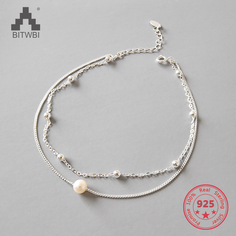 New Fashion 925 Sterling Silver Chain Anklet Elegant Pearl Pendant Ankle Foot Chain For Women's Jewelry Anklets Bracelet Gift
