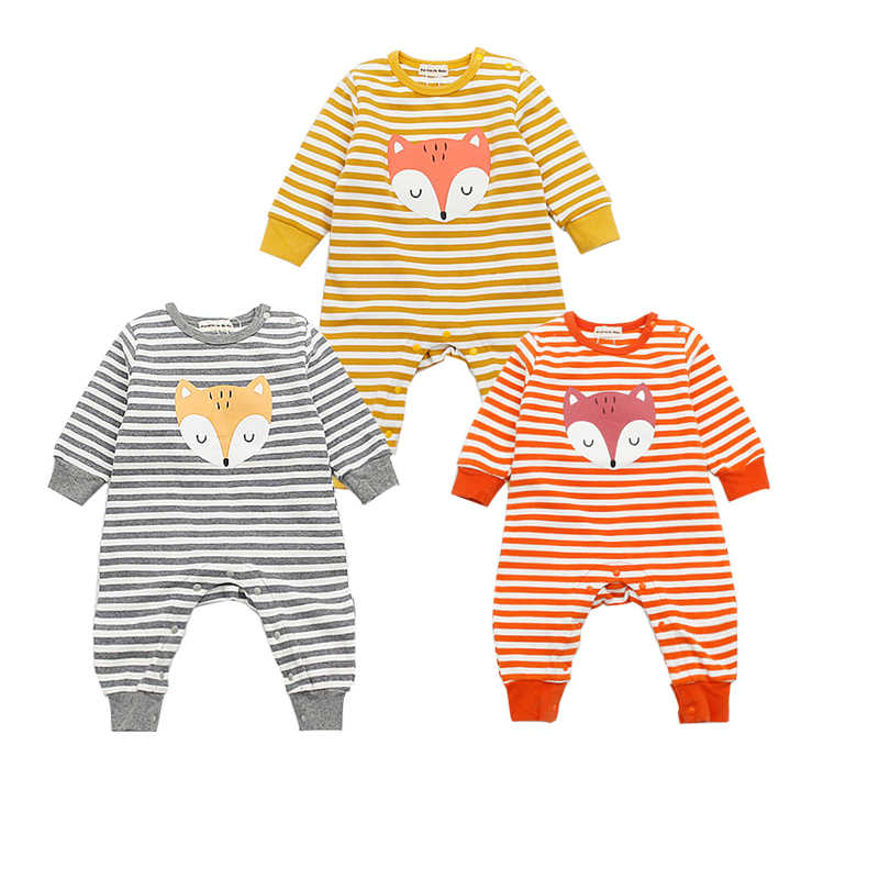 Baby Striped Rompers Animal Fox Newborn Baby Girls Boys Clothes Cotton Long Sleeve Infant Jumpsuit Autumn Overalls 0-2 Years