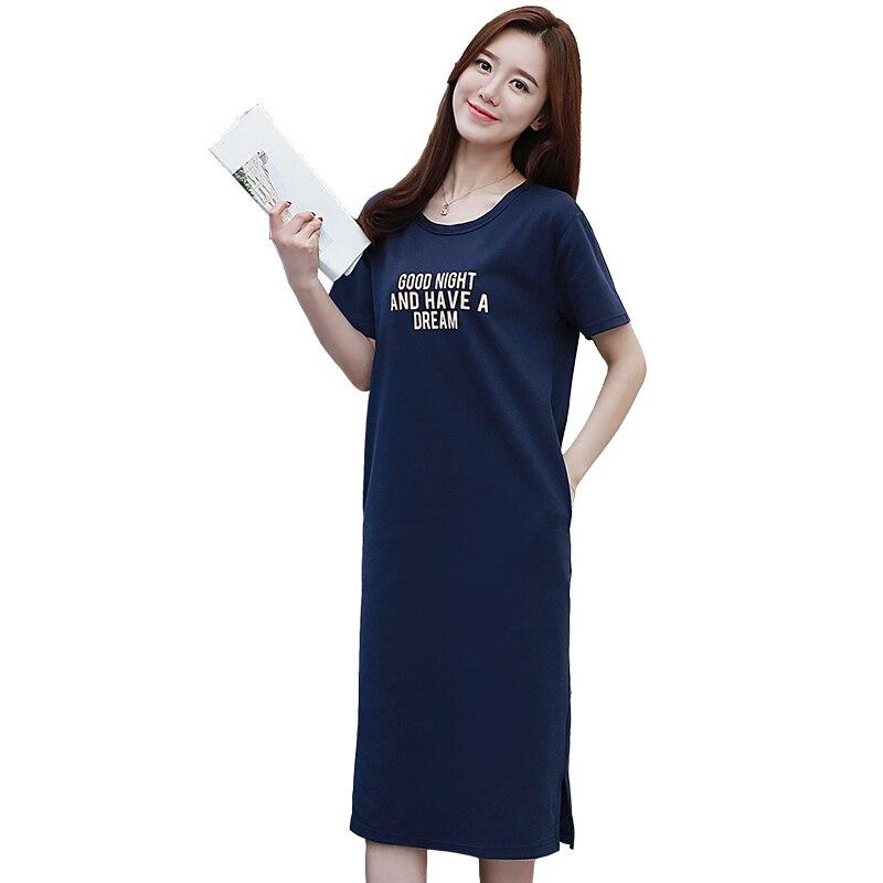 2019 Fashion Women Cotton Long   Nightgowns     Sleepshirts   Summer Home Dress Sleepwear Comfortable Nightdress Indoor Clothing
