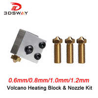 3DSWAY 3D Printer Kit 3D Volcano Heating Block and Nozzle Kit for Large-scale 3D Printing 0.6/0.8/1.0/1.2mm for 1.75mm filament