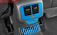 BJMYCYY rear air conditioner air outlet stainless steel patch decorative frame For Volkswagen T-ROC T ROC 2018 Accessories