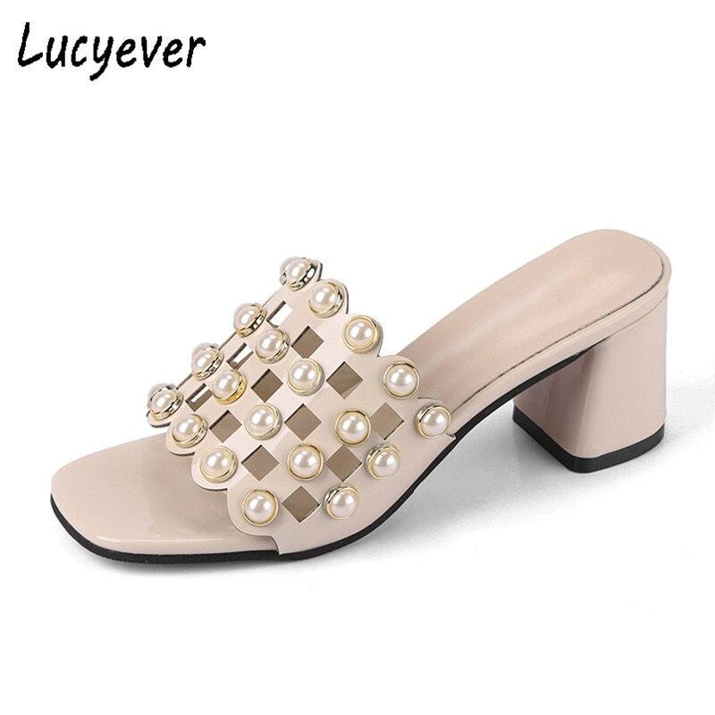 Lucyever פנינים ואגלי גבוהים 2018 קיץ סנדלי נשים נעלי שמלת עקבים לגזור מסיבת עקבים עבים אלגנטיים נעל נשים משאבות