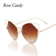 Rose Candy Hot sell 2016 Thin Frame Brand Designer Sunglasses Luxury Cat Eye Sun Glasses for